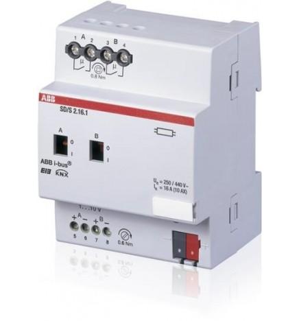 ABB EIB / KNX Dimmer/ON-OFF 2CH 16A (1-10V) MDRC (4 DIN) SD/S2.16.1