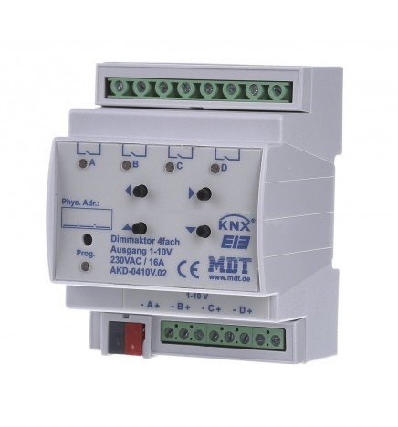 MDT EIB/KNX Attuatore Dimmer 4CH 1-10V 16A RGBW (4 DIN) AKD-0410V.02
