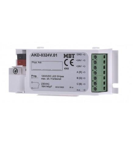 MDT EIB/KNX Dimmer Stisce Led 3CH RGB 12/24V AKD-0324V.02