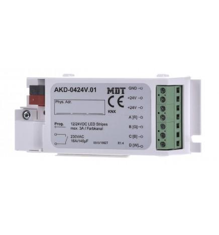 MDT EIB/KNX Dimmer Stisce Led 4CH RGBW 12/24V AKD-0424V.02
