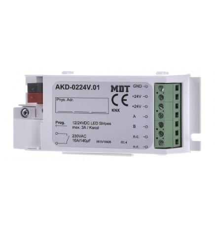 MDT EIB/KNX Dimmer Stiscia Led 2CH Bianca 12/24V AKD-0224V.02