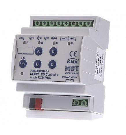MDT EIB/KNX Dimmer Stiscia Led 4CH RGBW 12/24V (4 DIN) AKD-0424R.02