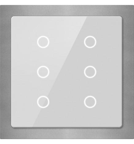 GVS EIB/KNX Pulsantiera Touch Vetro Slim 6CH Silver CHTB-06/01.2.22