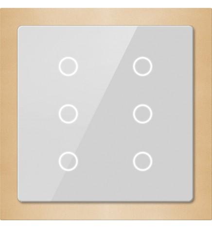 GVS EIB/KNX Pulsantiera Touch Vetro Slim 6CH Gold CHTB-06/01.2.24