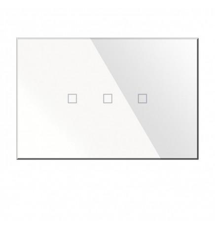 BX KNX KRISTAL Pulsantiera Touch Vetro Bianca 3CH BX-R03W
